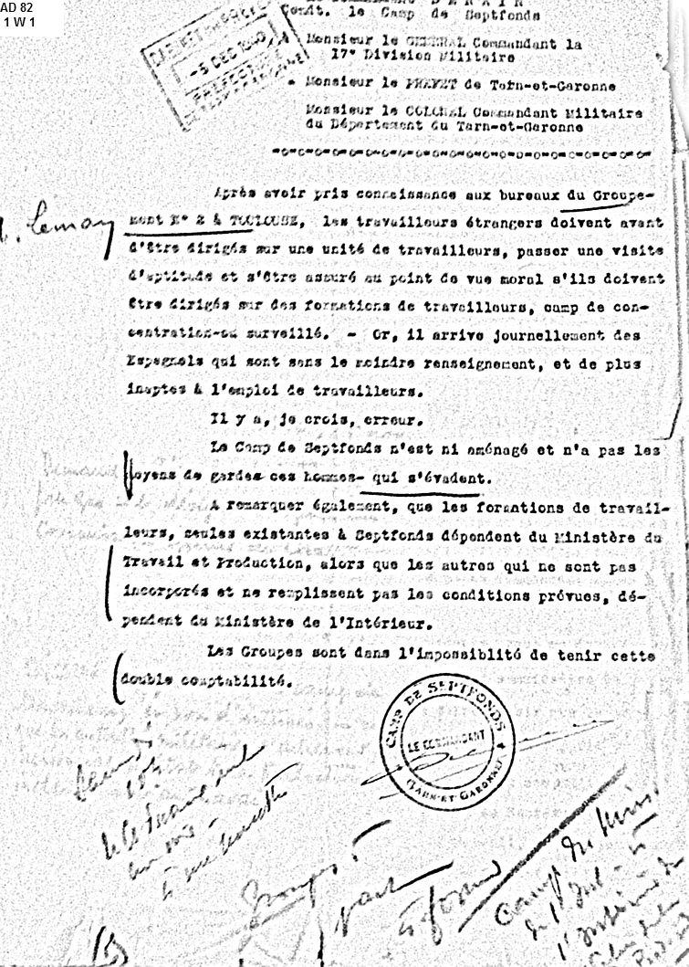 GTE-Septfonds-inapte-évasions-décembre-1940