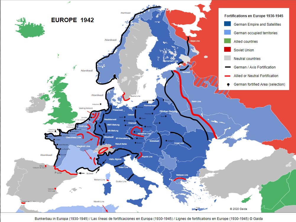 Bunker Lines in Europe 1930-1945